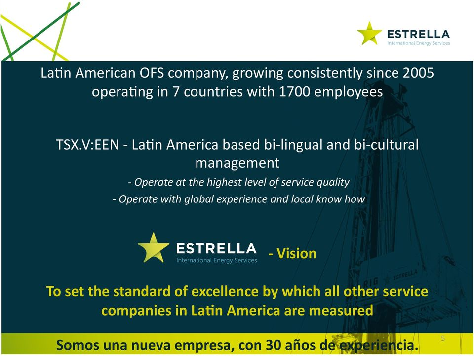 V:EEN - La8n America based bi- lingual and bi- cultural management - Operate at the highest