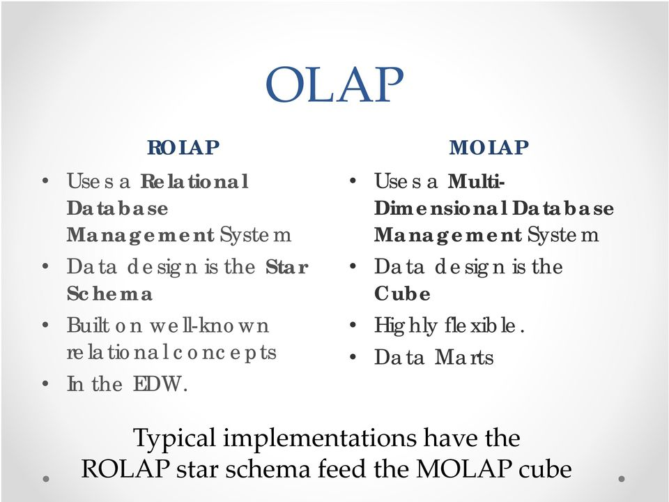 MOLAP Uses a Multi- Dimensional Database Management System Data design is the