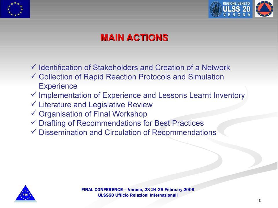 Lessons Learnt Inventory Literature and Legislative Review Organisation of Final