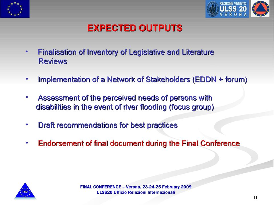 needs of persons with disabilities in the event of river flooding (focus group) Draft
