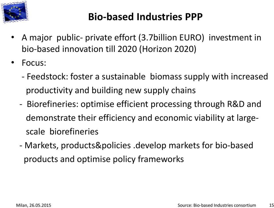 increased productivity and building new supply chains - Biorefineries: optimise efficient processing through R&D and demonstrate their