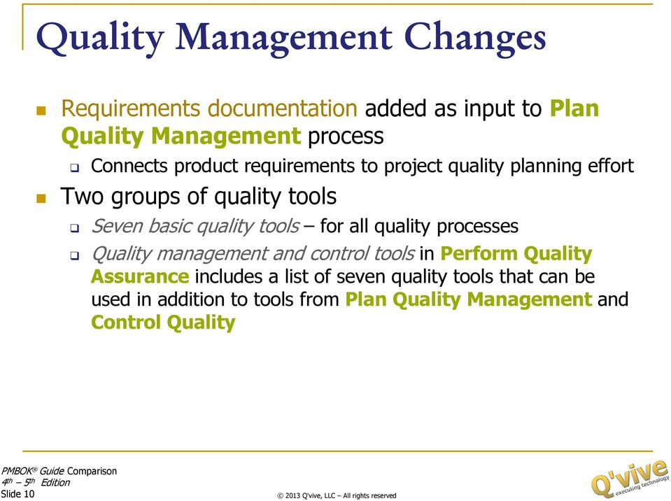 for all quality processes Quality management and control tools in Perform Quality Assurance includes a list of