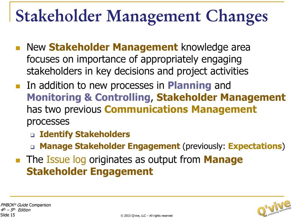 Controlling, Stakeholder Management has two previous Communications Management processes Identify Stakeholders Manage