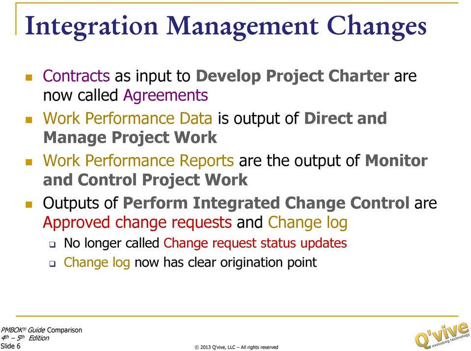 Monitor and Control Project Work Outputs of Perform Integrated Change Control are Approved change requests
