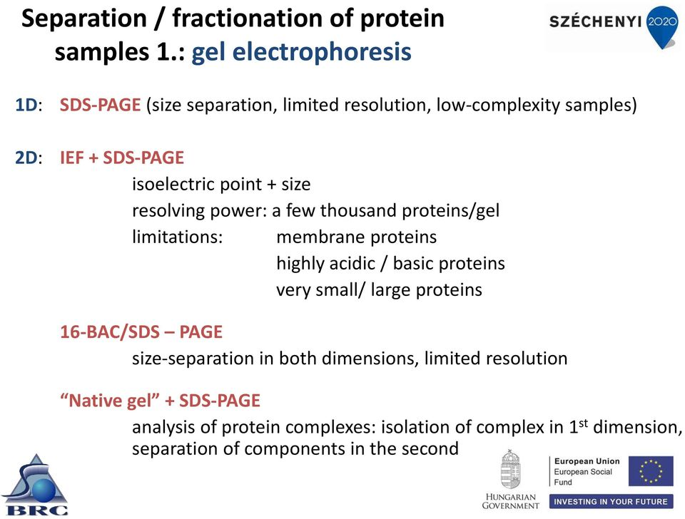 point size resolving power: a few thousand proteins/gel limitations: membrane proteins highly acidic / basic proteins very small/