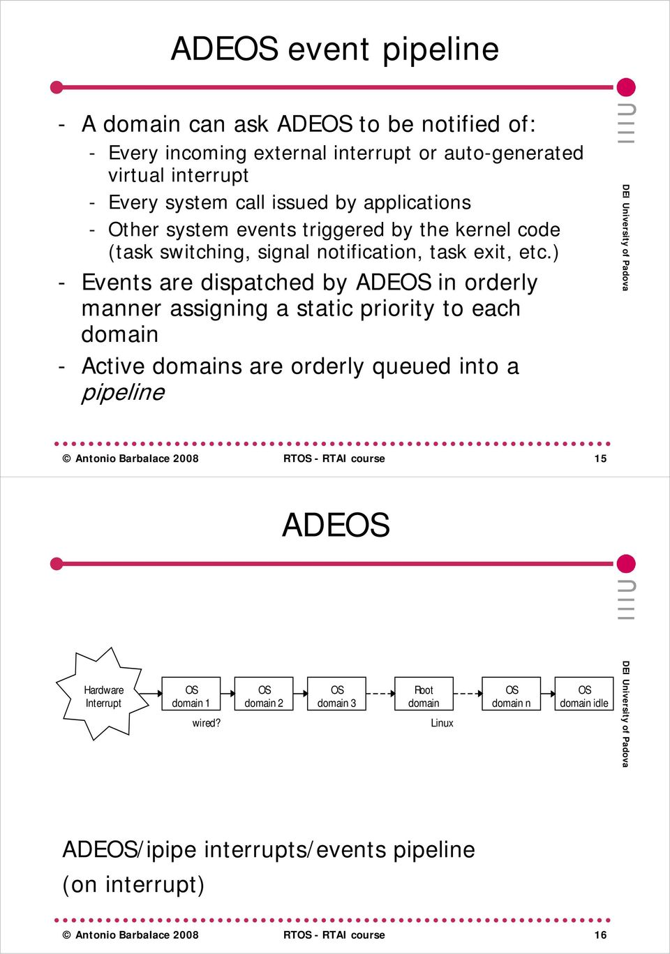 ) - Events are dispatched by ADEOS in orderly manner assigning a static priority to each domain - Active domains are orderly queued into a pipeline Antonio Barbalace