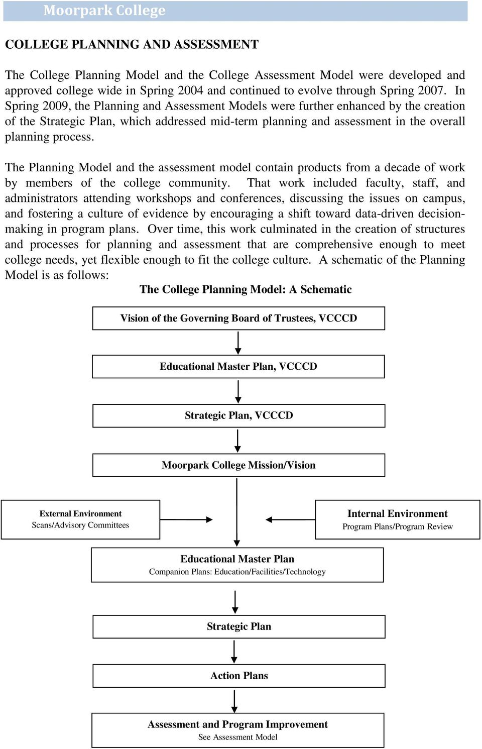 In Spring 2009, the Planning and Assessment Models were further enhanced by the creation of the Strategic Plan, which addressed mid-term planning and assessment in the overall planning process.