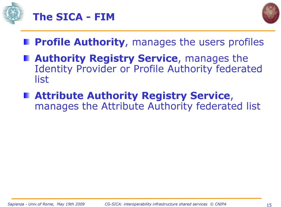 Profile Authority federated list Attribute Authority