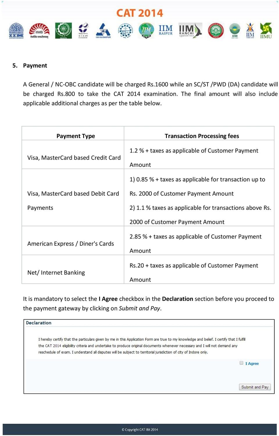 2 % + taxes as applicable of Customer Payment Amount 1) 0.85 % + taxes as applicable for transaction up to Visa, MasterCard based Debit Card Payments Rs. 2000 of Customer Payment Amount 2) 1.