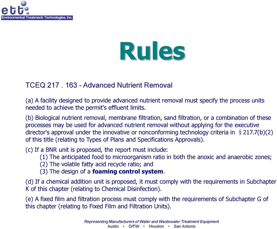 approval under the innovative or nonconforming technology criteria in 217.7(b)(2) of this title (relating to Types of Plans and Specifications Approvals).