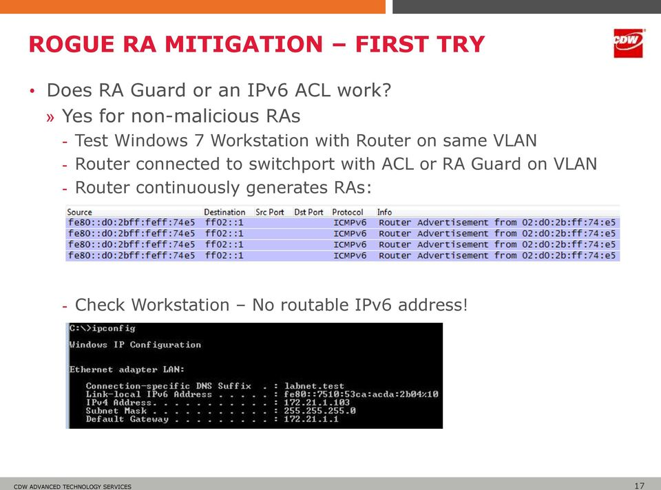 same VLAN - Router connected to switchport with ACL or RA Guard on VLAN -