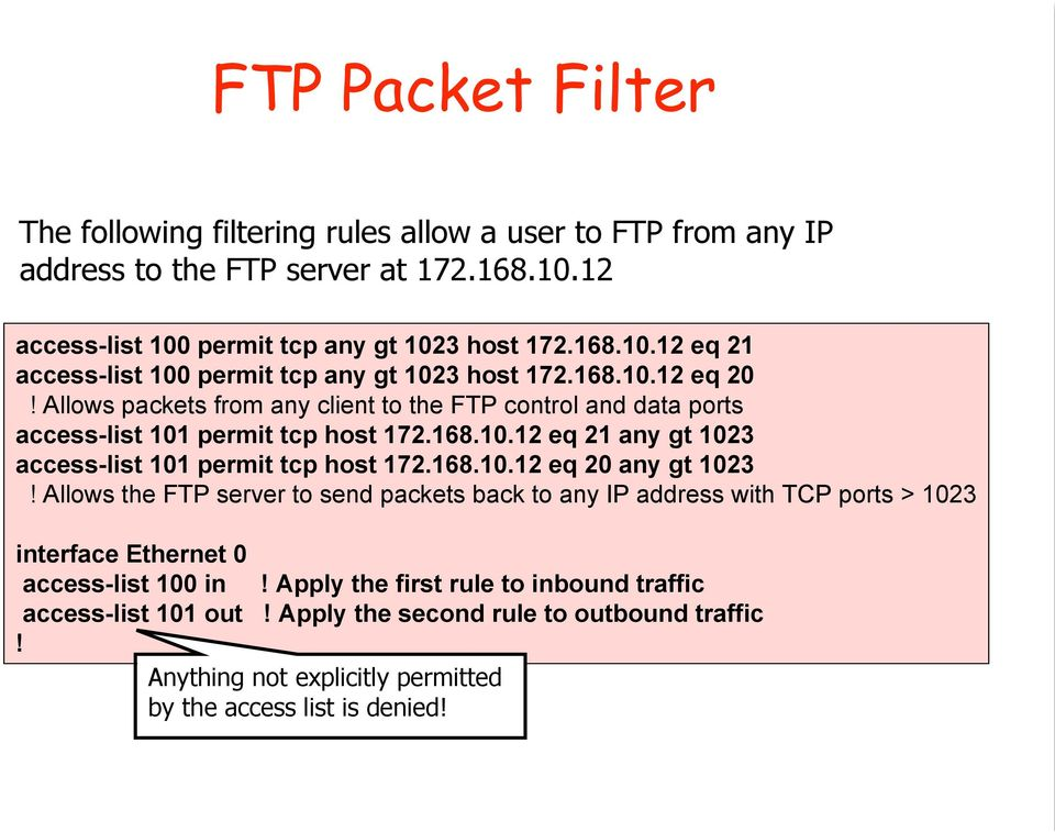 168.10.12 eq 20 any gt 1023! Allows the FTP server to send packets back to any IP address with TCP ports > 1023 interface Ethernet 0 access-list 100 in!