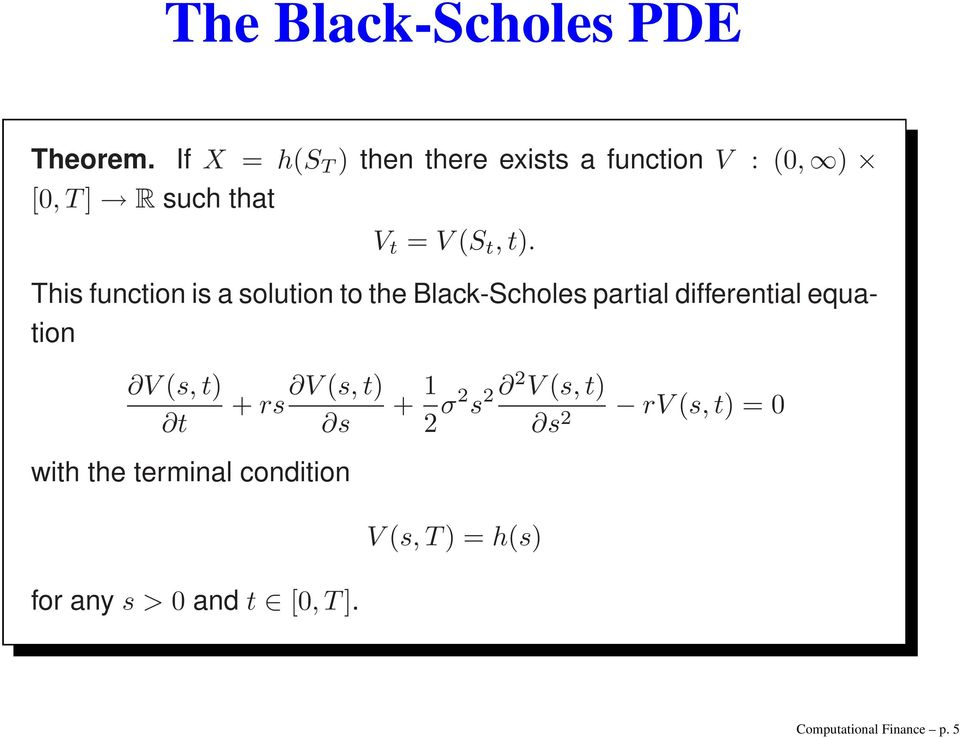 This function is a solution to the Black-Scholes partial differential equation V s, t) t