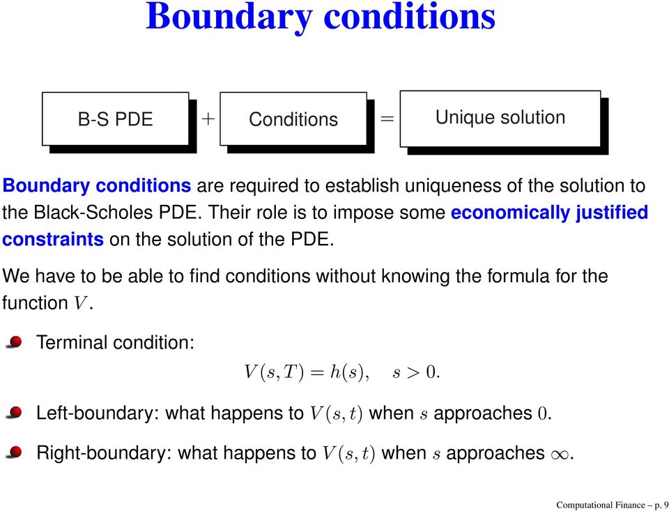 We have to be able to find conditions without knowing the formula for the function V. Terminal condition: V s, T) = hs), s > 0.