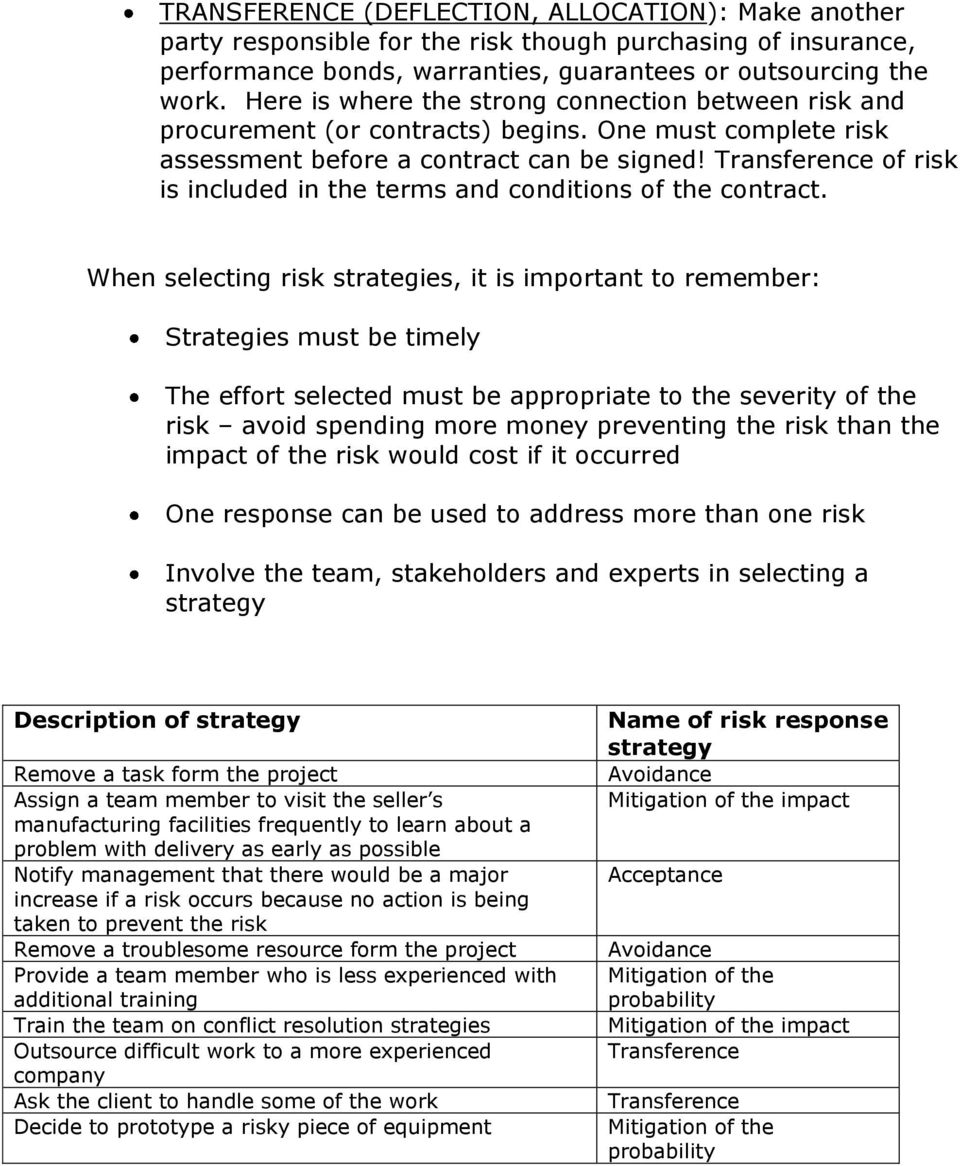 Transference of risk is included in the terms and conditions of the contract.