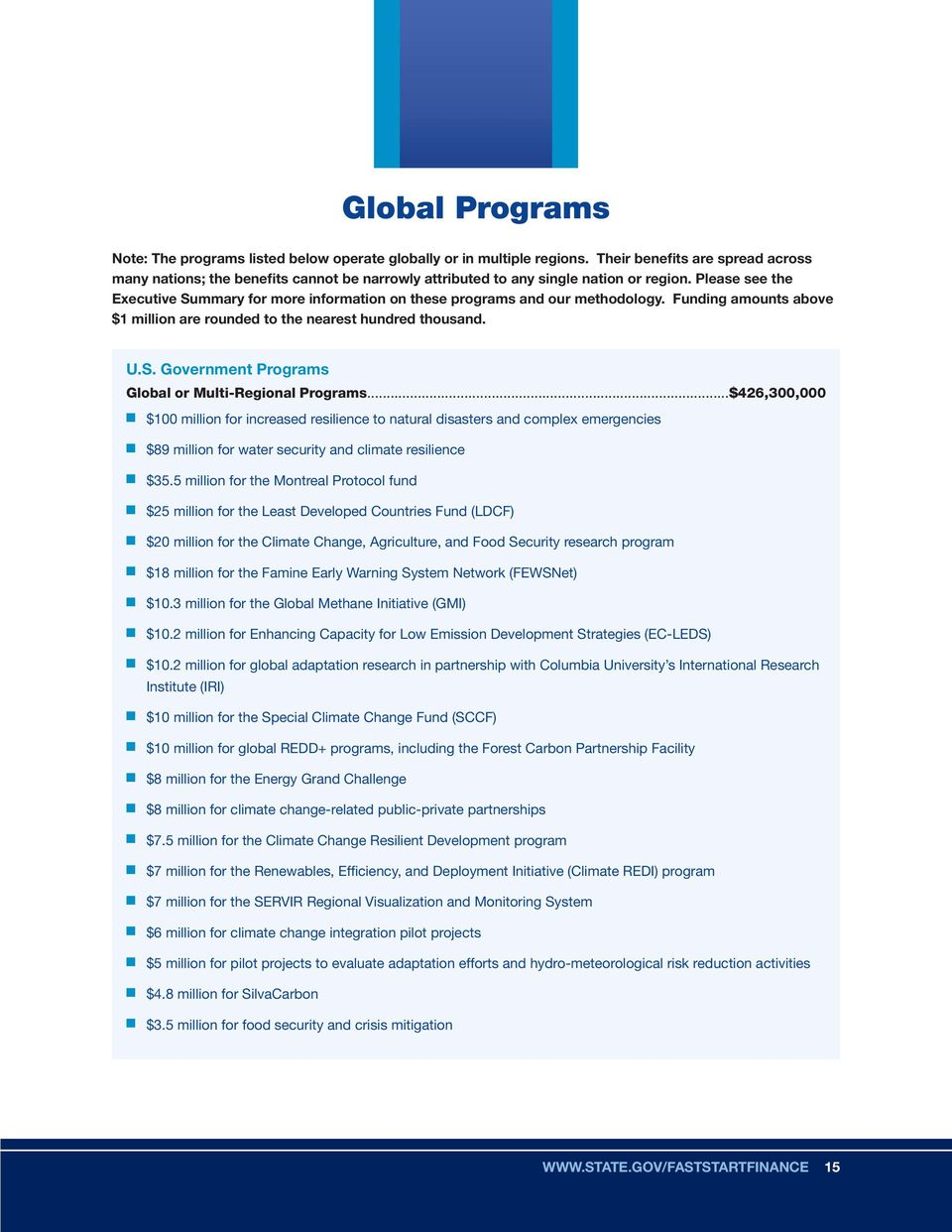 Please see the Executive Summary for more information on these programs and our methodology. Funding amounts above $1 million are rounded to the nearest hundred thousand. U.S. Government Programs Global or Multi-Regional Programs.