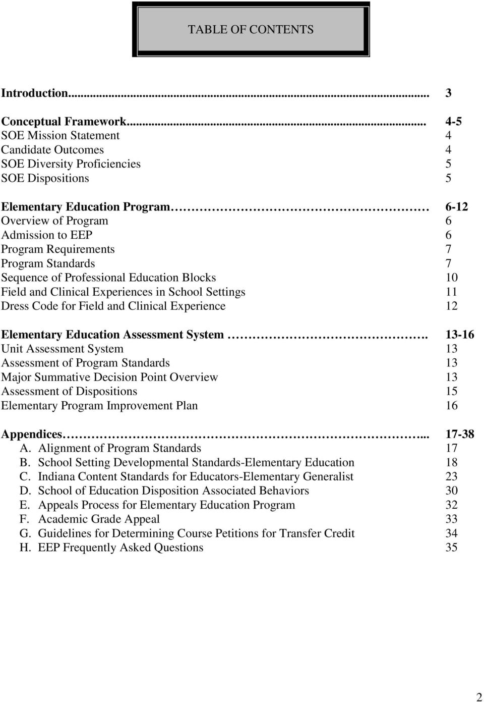 Program Standards 7 Sequence of Professional Education Blocks 10 Field and Clinical Experiences in School Settings 11 Dress Code for Field and Clinical Experience 12 Elementary Education Assessment