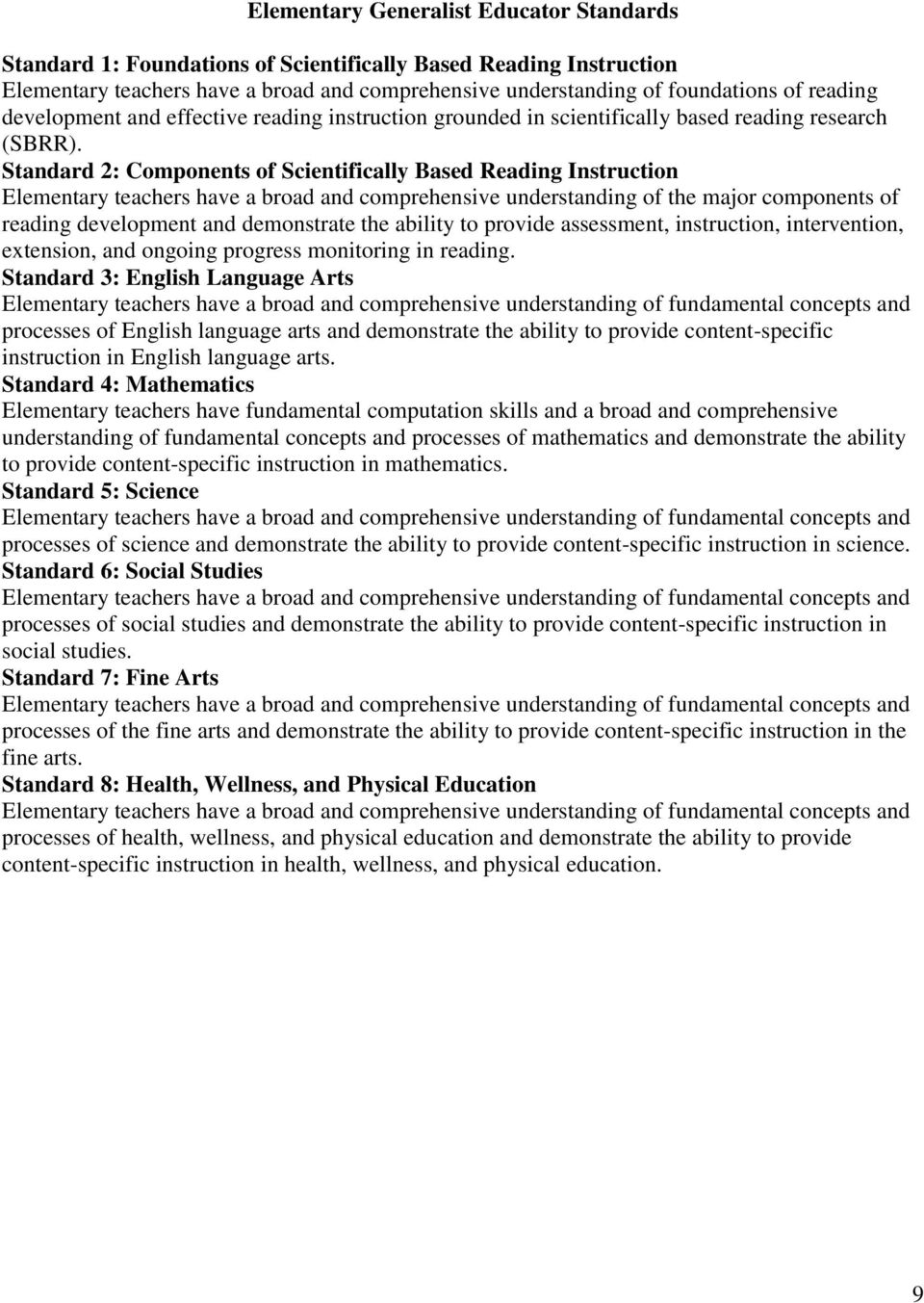 Standard 2: Components of Scientifically Based Reading Instruction Elementary teachers have a broad and comprehensive understanding of the major components of reading development and demonstrate the