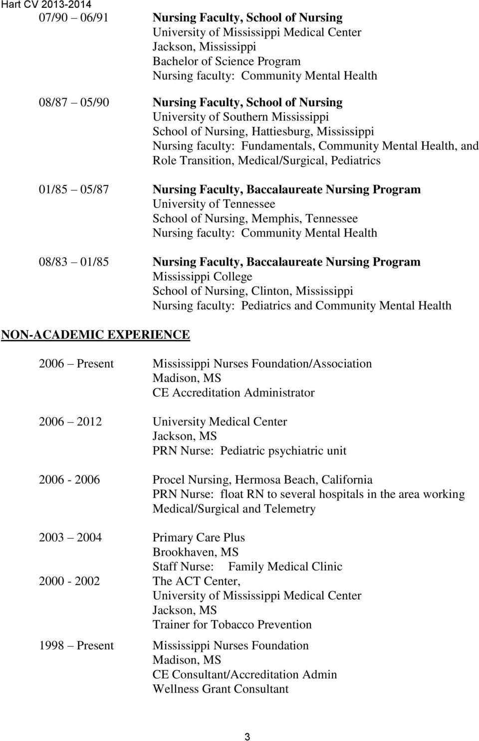 Medical/Surgical, Pediatrics 01/85 05/87 Nursing Faculty, Baccalaureate Nursing Program University of Tennessee School of Nursing, Memphis, Tennessee Nursing faculty: Community Mental Health 08/83