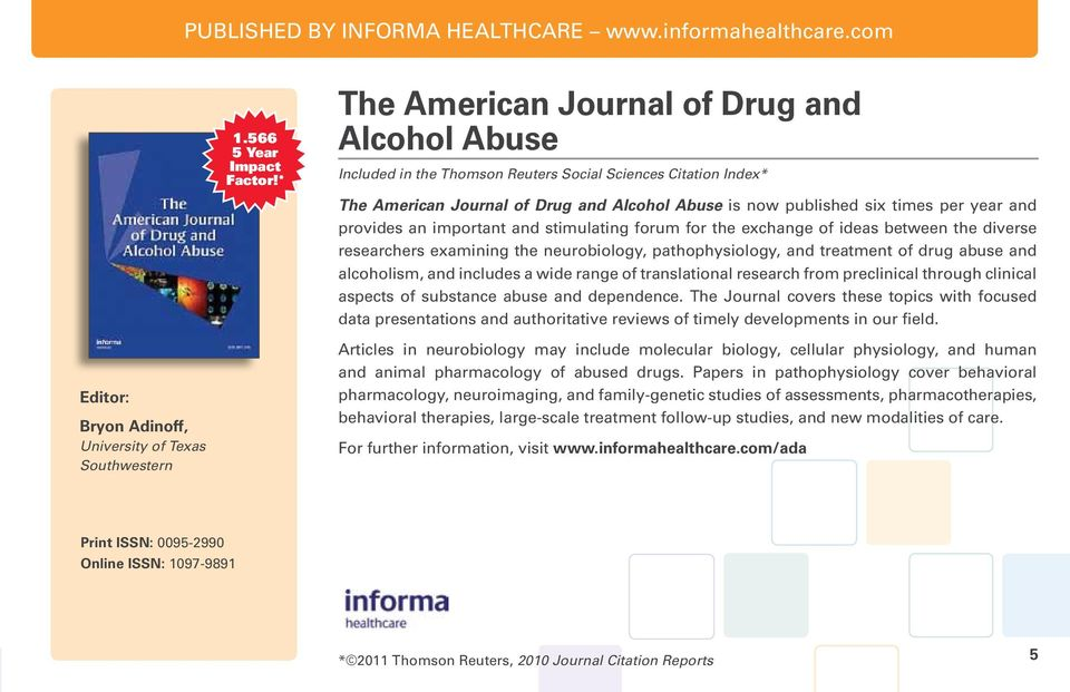 provides an important and stimulating forum for the exchange of ideas between the diverse researchers examining the neurobiology, pathophysiology, and treatment of drug abuse and alcoholism, and