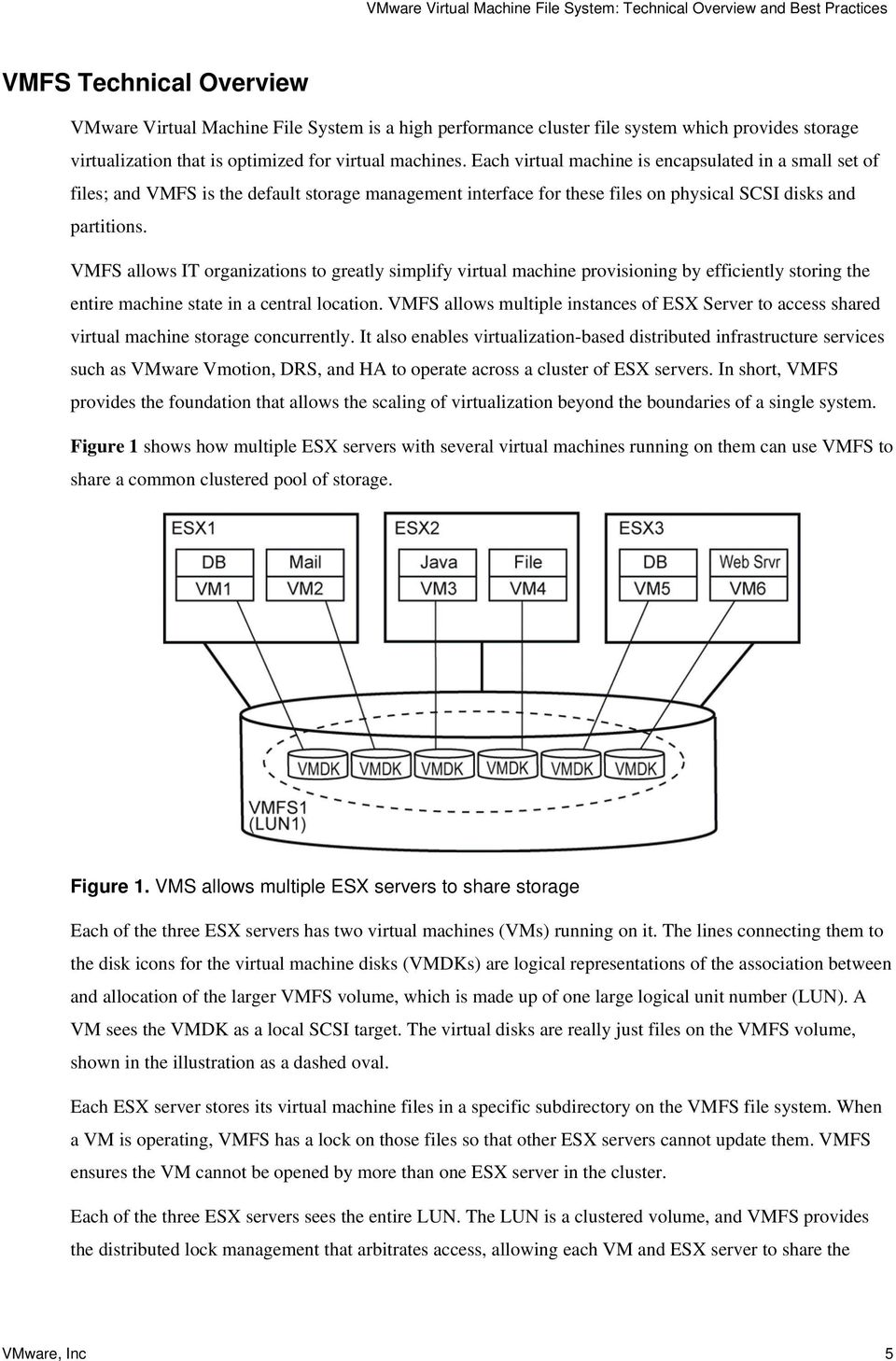 VMFS allows IT organizations to greatly simplify virtual machine provisioning by efficiently storing the entire machine state in a central location.