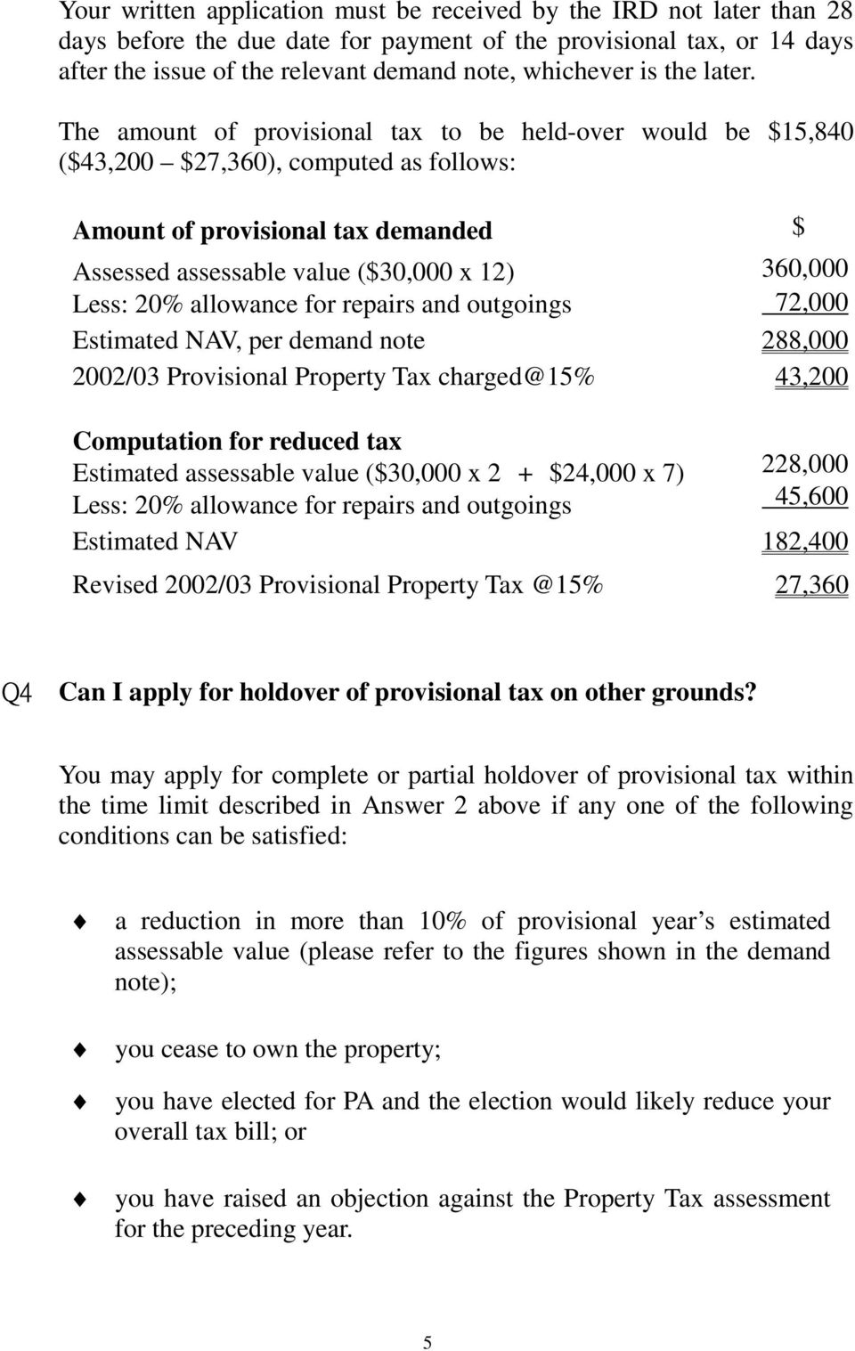 The amount of provisional tax to be held-over would be $15,840 ($43,200 $27,360), computed as follows: Amount of provisional tax demanded $ Assessed assessable value ($30,000 x 12) 360,000 Less: 20%