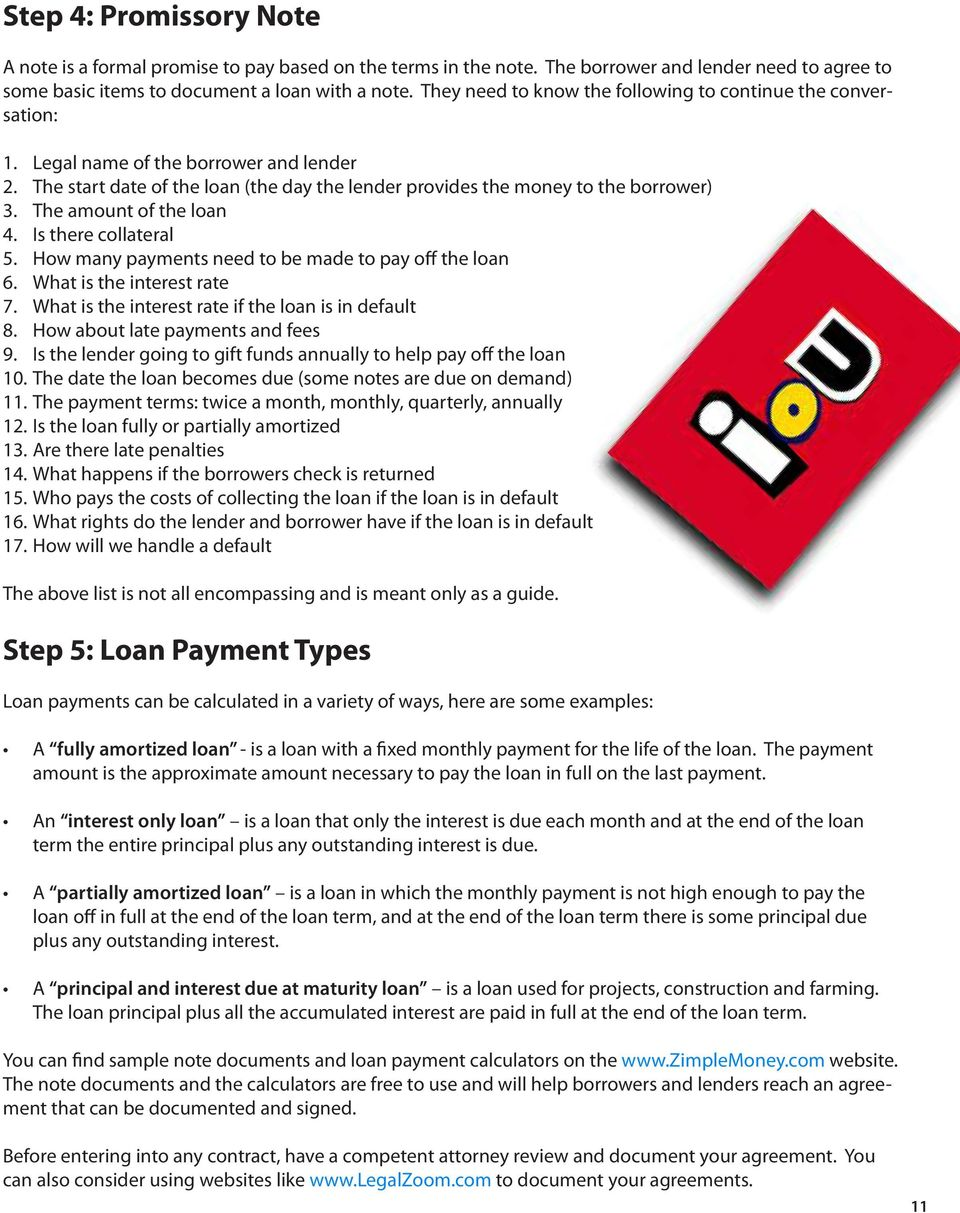 there collateral 5 How many payments need to be made to pay off the loan 6 What is the interest rate 7 What is the interest rate if the loan is in default 8 How about late payments and fees 9 Is the