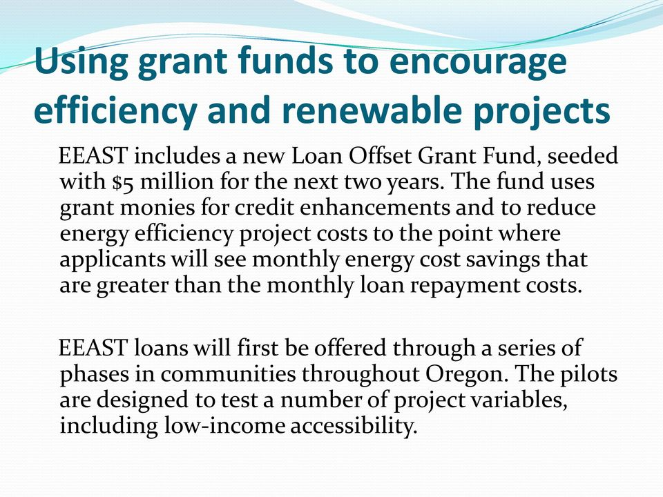 The fund uses grant monies for credit enhancements and to reduce energy efficiency project costs to the point where applicants will see
