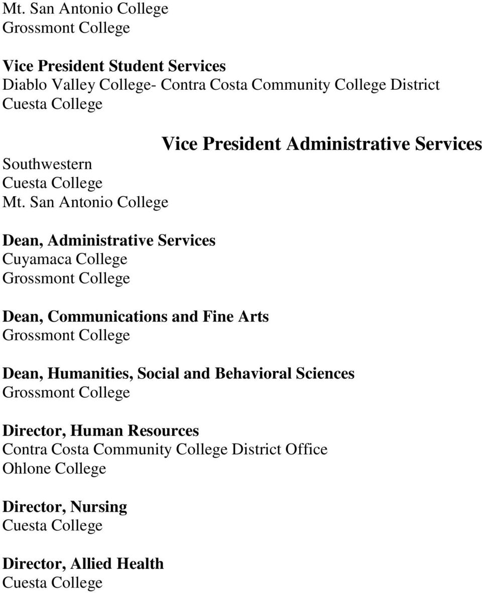 San Antonio College Dean, Administrative Services Cuyamaca College Grossmont College Dean, Communications and Fine Arts Grossmont College Vice