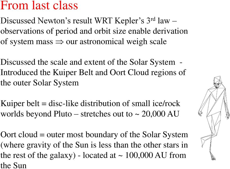 Solar System Kuiper belt = disc-like distribution of small ice/rock worlds beyond Pluto stretches out to ~ 20,000 AU Oort cloud = outer most