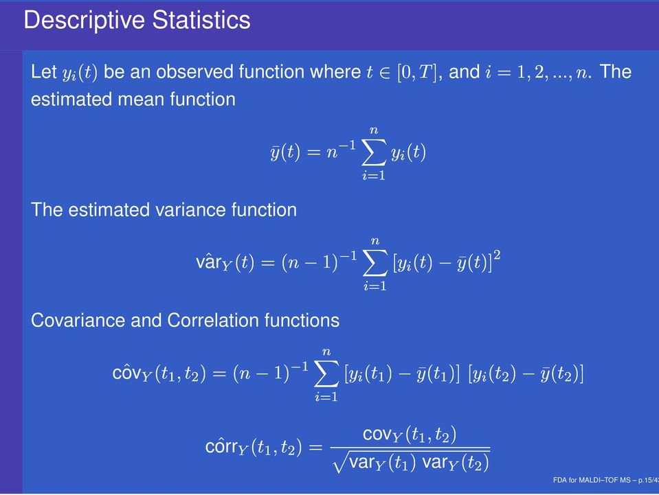 function % $ '& # The estimated variance function # % $ '& var