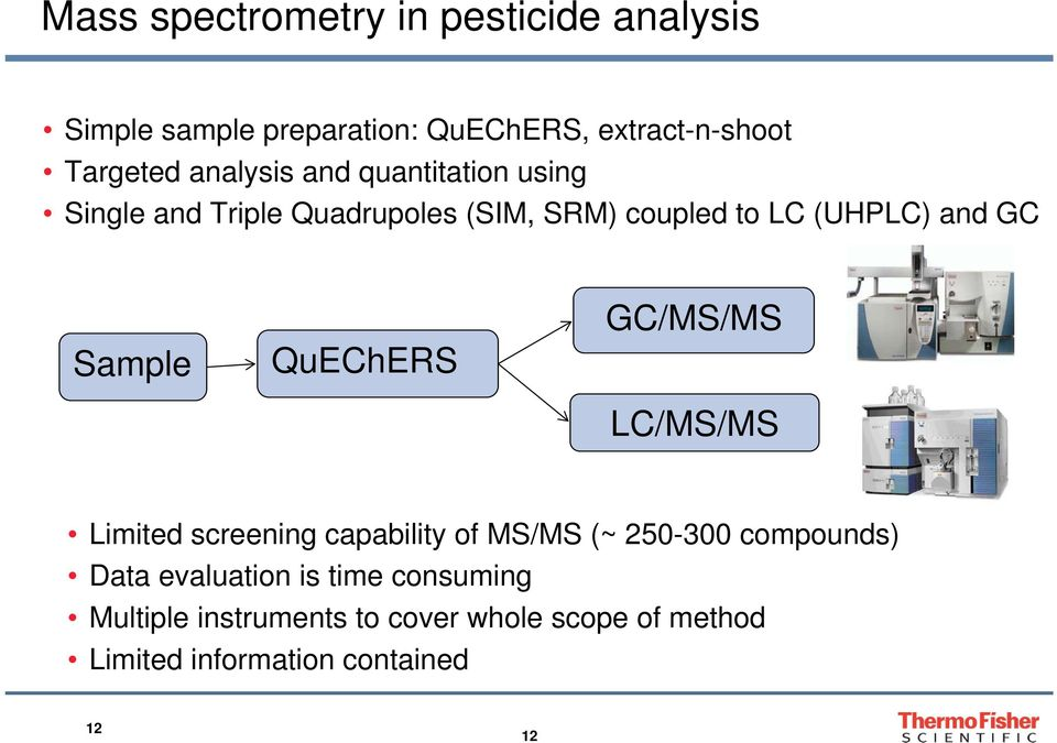 Sample QuEChERS GC/MS/MS LC/MS/MS Limited screening capability of MS/MS (~ 250-300 compounds) Data