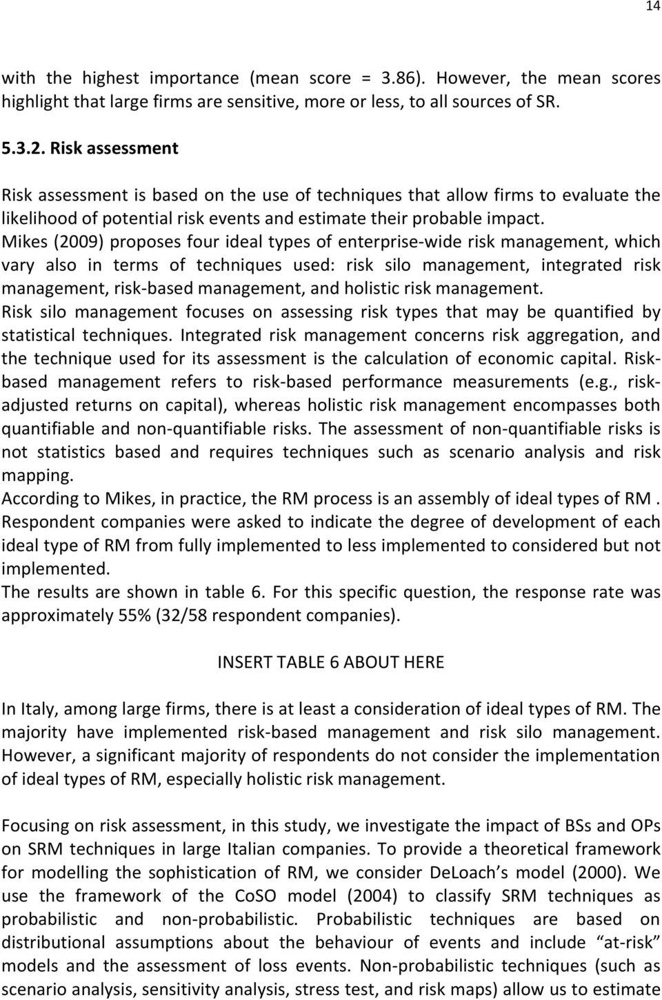 Mikes (2009) proposes four ideal types of enterprise-wide risk management, which vary also in terms of techniques used: risk silo management, integrated risk management, risk-based management, and