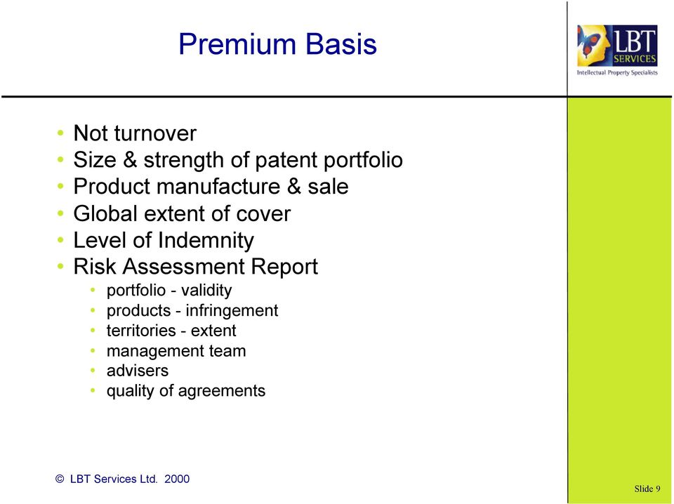 Risk Assessment Report portfolio - validity products - infringement