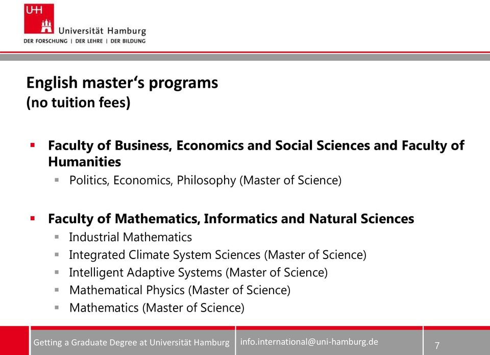 Natural Sciences Industrial Mathematics Integrated Climate System Sciences (Master of Science) Intelligent