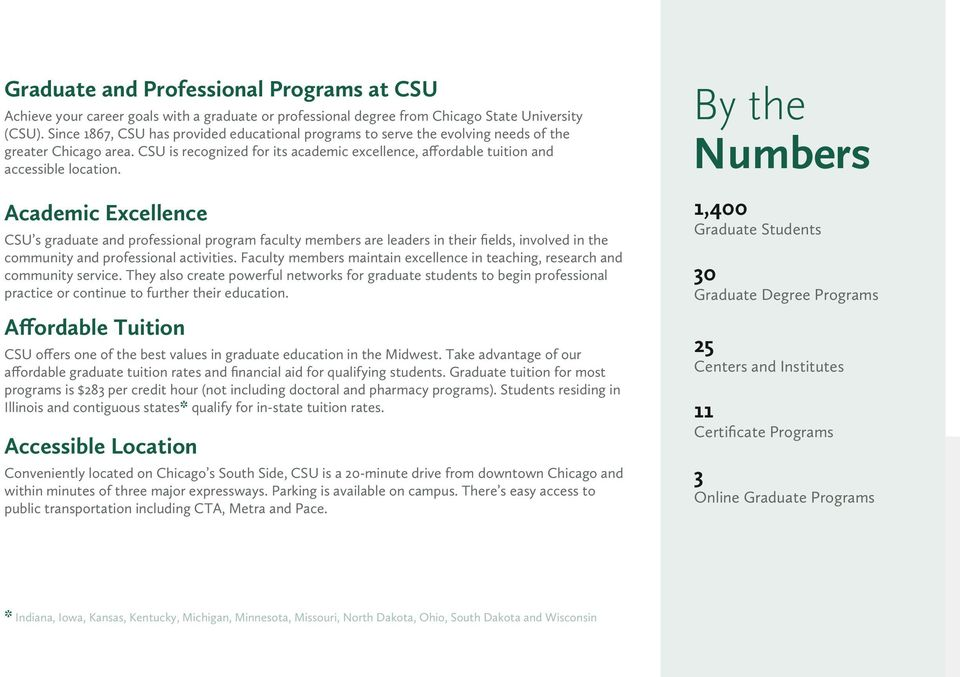 Academic Excellence CSU s graduate and professional program faculty members are leaders in their fields, involved in the community and professional activities.