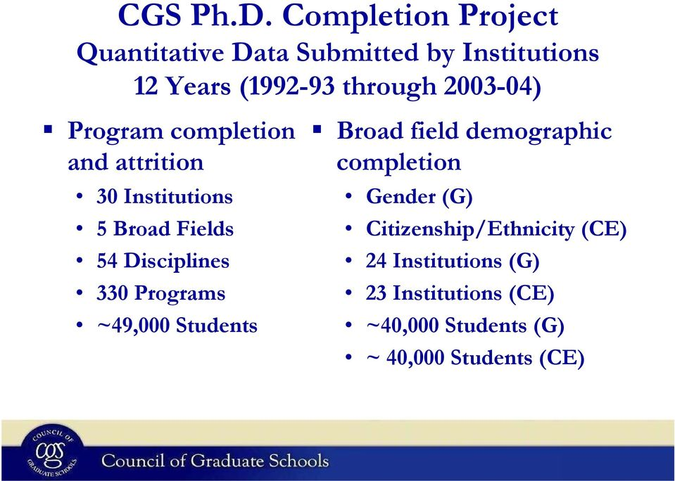 2003-04) Program completion and attrition 30 Institutions 5 Broad Fields 54 Disciplines 330