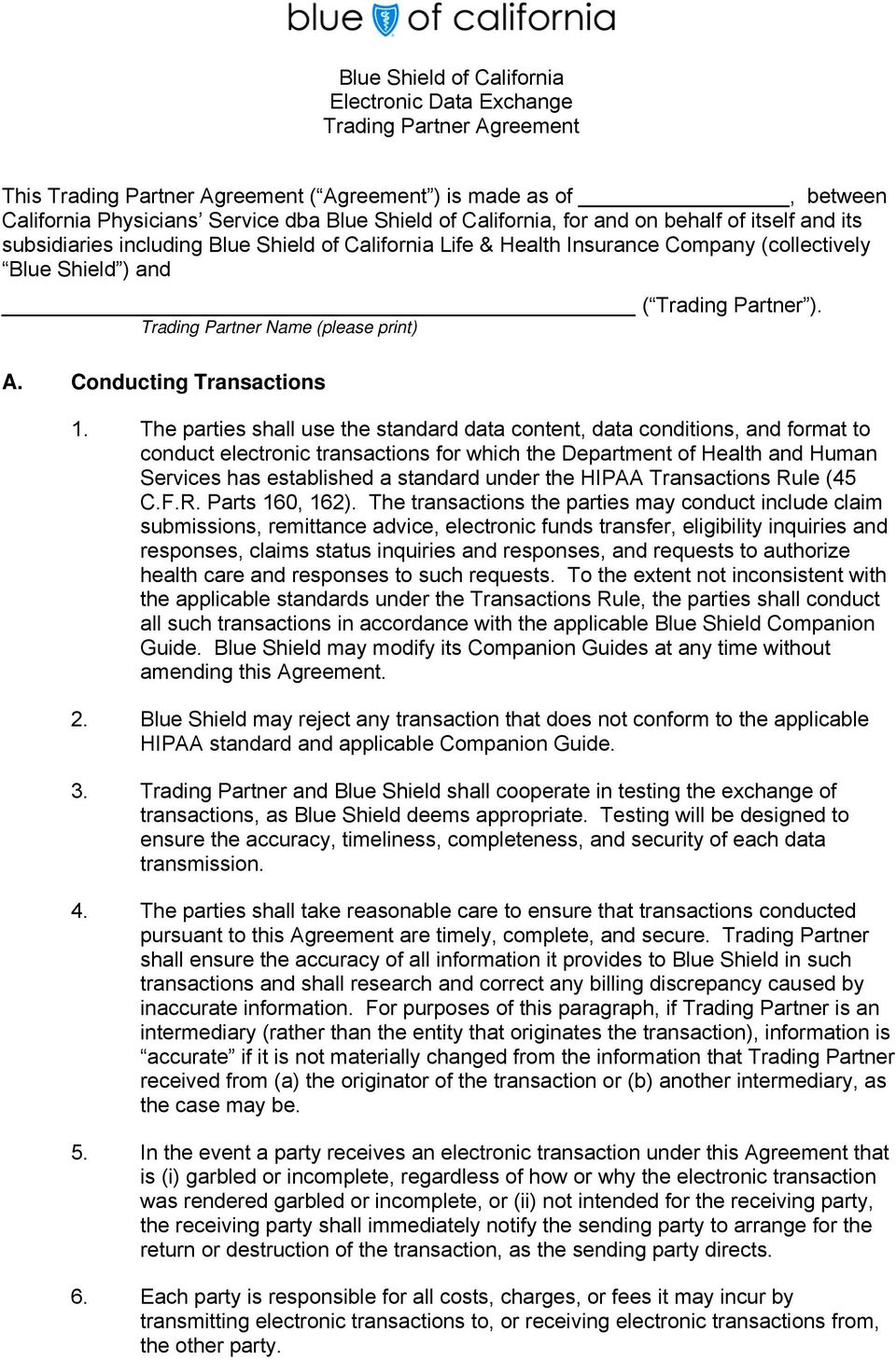 Trading Partner Name (please print) A. Conducting Transactions 1.