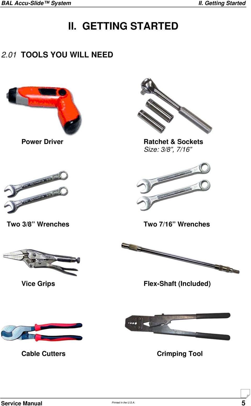 3/8, 7/16 Two 3/8 Wrenches Two 7/16 Wrenches Vice Grips