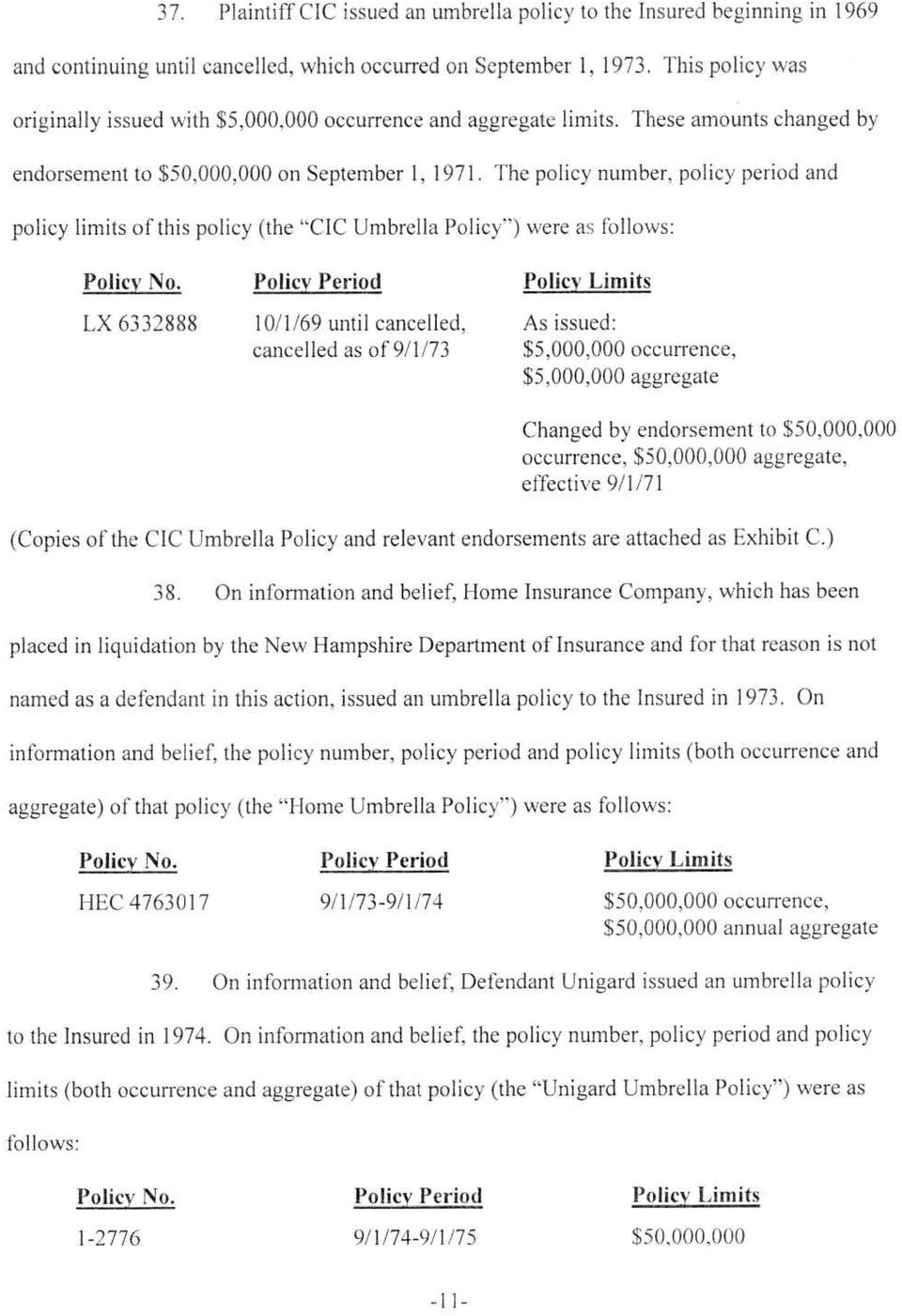 "The policy number, policy period and policy limits of this policy (the ""CIC Umbrella Policy ) were as follows: Policy No."