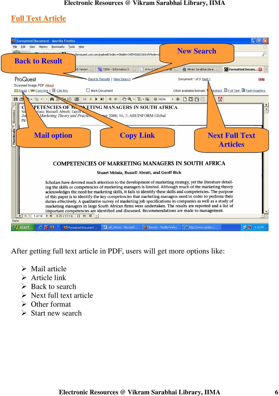 PDF, users will get more options like: Mail article Article link Back to search Next full