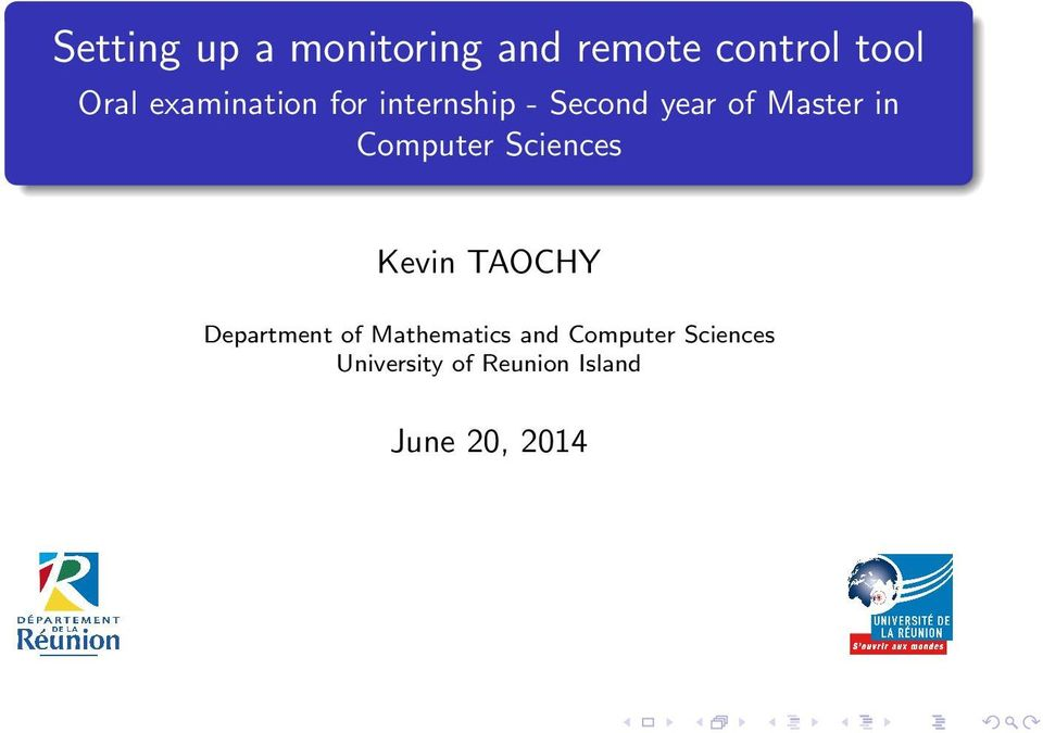 Computer Sciences Kevin TAOCHY Department of Mathematics