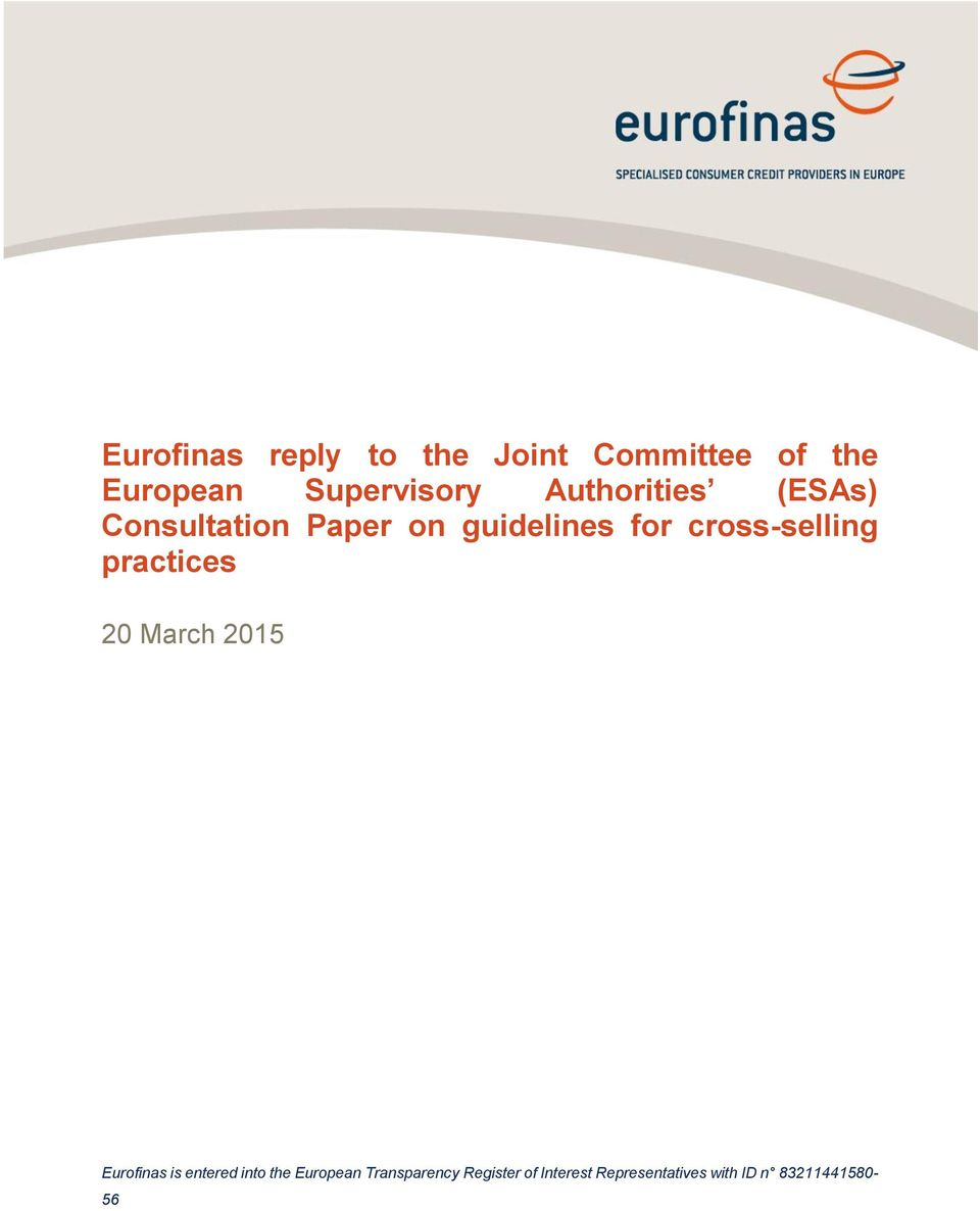 cross-selling practices 20 March 2015 Eurofinas is entered into the