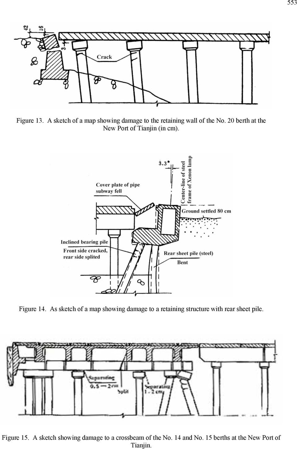 As sketch of a map showing damage to a retaining structure with rear sheet pile.
