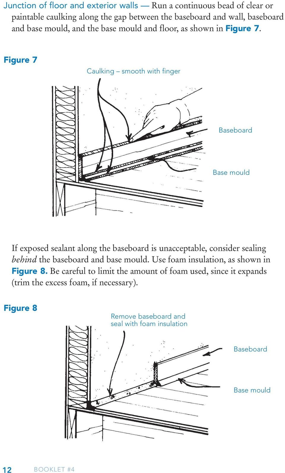 Figure 7 Caulking smooth with finger Baseboard Base mould If exposed sealant along the baseboard is unacceptable, consider sealing behind the baseboard