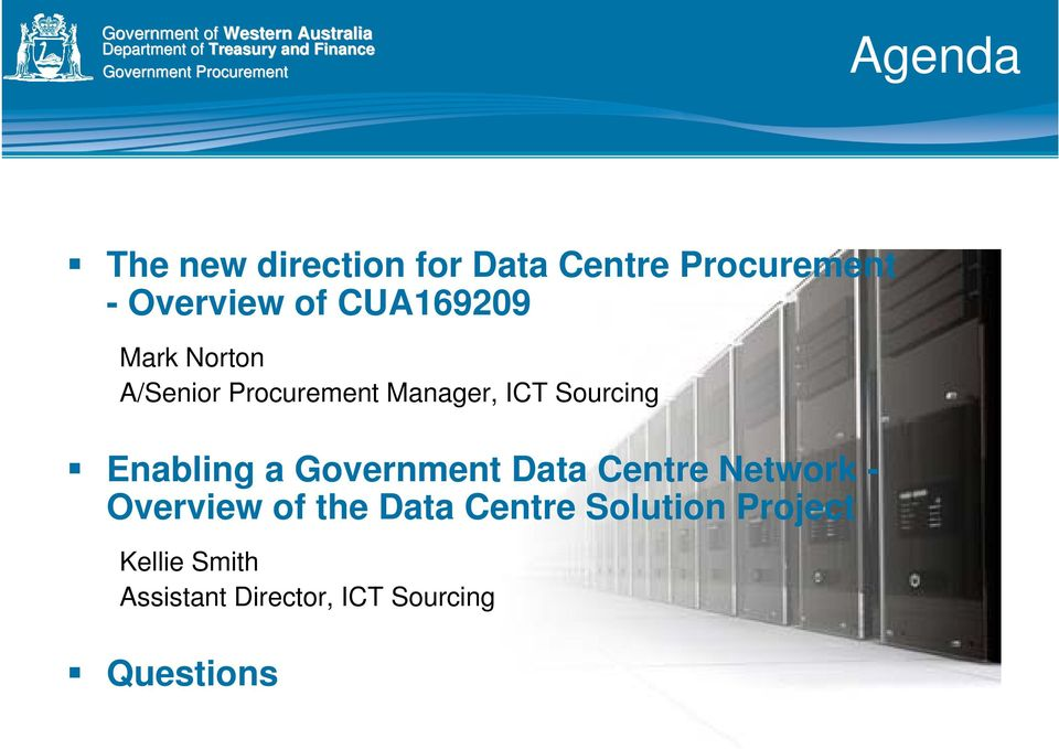 Enabling a Government Data Centre Network - Overview of the Data