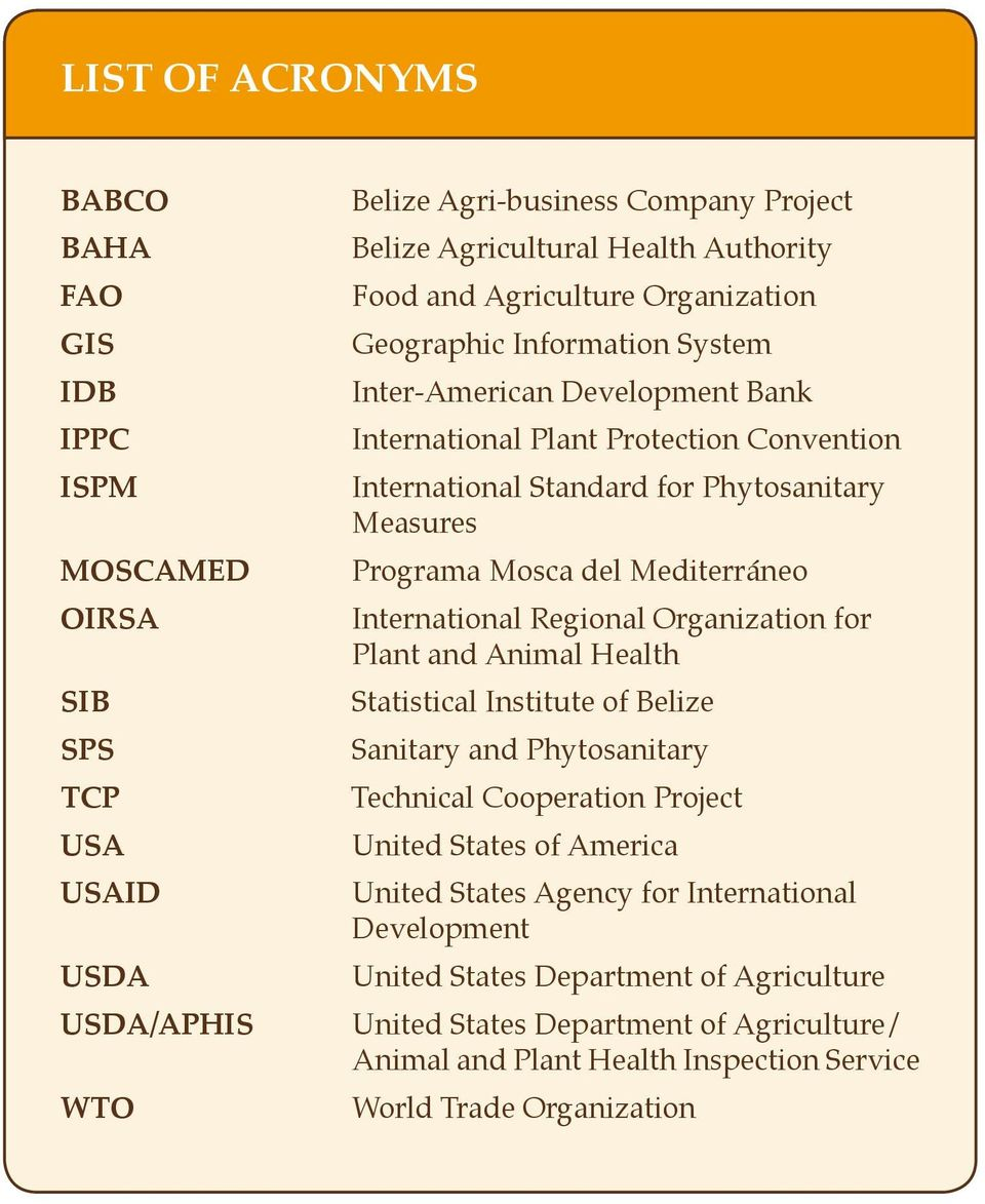 del Mediterráneo International Regional Organization for Plant and Animal Health Statistical Institute of Belize Sanitary and Phytosanitary Technical Cooperation Project United States of America