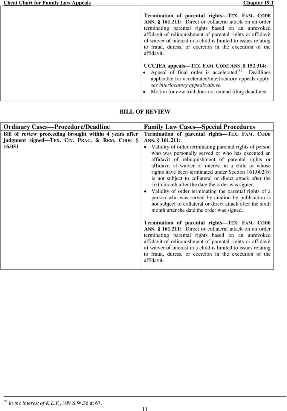 CHEAT CHART FOR FAMILY LAW APPEALS - PDF