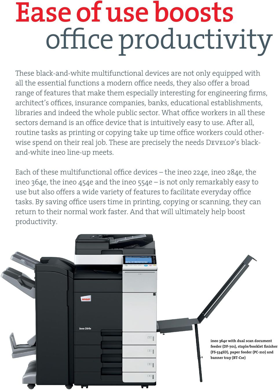 What office workers in all these sectors demand is an office device that is intuitively easy to use.