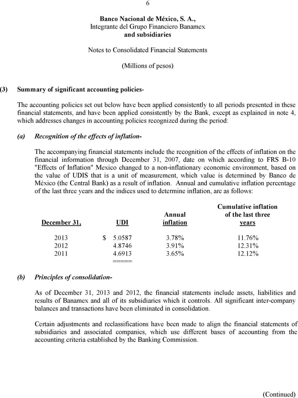 "financial statements include the recognition of the effects of inflation on the financial information through December 31, 2007, date on which according to FRS B-10 ""Effects of Inflation"" Mexico"